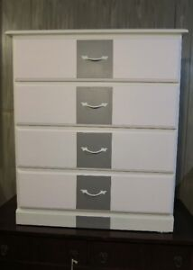 #33 Wood 4 Drawer Dresser - White with Pearl dra & Gray Drawer F