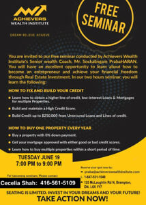 FREE REAL ESTATE AND WEALTH SEMINAR IN BRAMPTON TODAY JUNE 19!