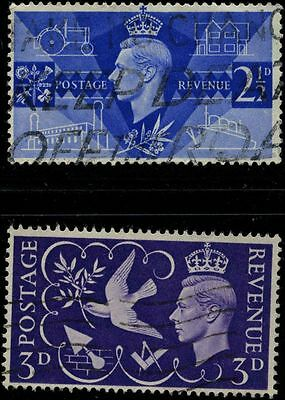 Great Britain 1946 stamps King George VI USED SG 491-492 CV $0.67 160618098