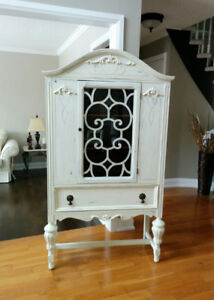 Shabby Chic French Country Antique China Cabinet Hutch