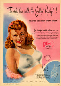 1948 full-page, color print ad for Dominion Corset Gothic Bras