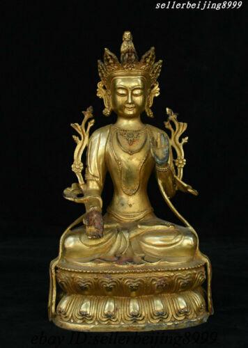 Old Tibet Bronze Gilt White Tara spirit of Compassion Goddess Bodhisattva Statue