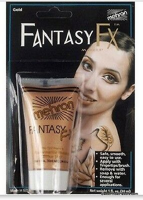 Cream Halloween Makeup - GOLD Cream Makeup Face Halloween Tube Costume FANTASY Stage MEhron FREE SHIPPING