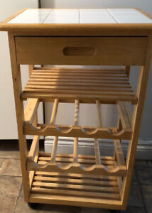 Kitchen wine cart with tiled top