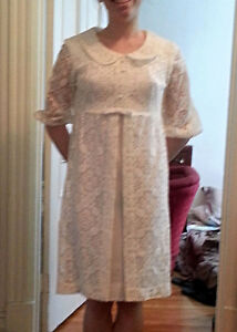 Vintage 1960's Joseph Ribkoff Linen Dress with Lace Overlay Coat