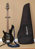 Ibanez left handed micro Bass guitar with soft case.