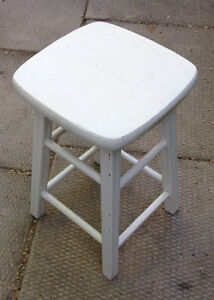 Vintage White Wood Country Kitchen Stool