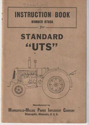 Minneapolis Moline Uts Standard Tractor Operators Instruction Manual Original