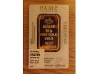 Pamp Suisse Fine Gold 24 Carat 50g solid gold bar _new in packaging