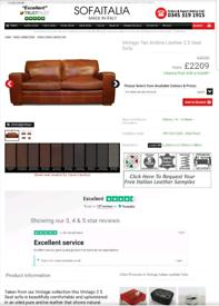 Sofitalia 2 seater sofa GENUINE ITALIAN LEATHER