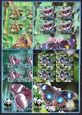 Aitutaki 2008 Mi.Nr. 778-81 Kleinbogen WWF ** Schmetterlinge 38,-- EUR
