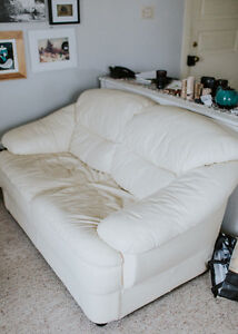 Loveseat - lovely cream coloured leather NEW PRICE