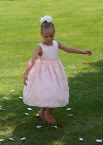 Like New two FLOWER GIRL DRESSES Size 6X Light Peach / Pink