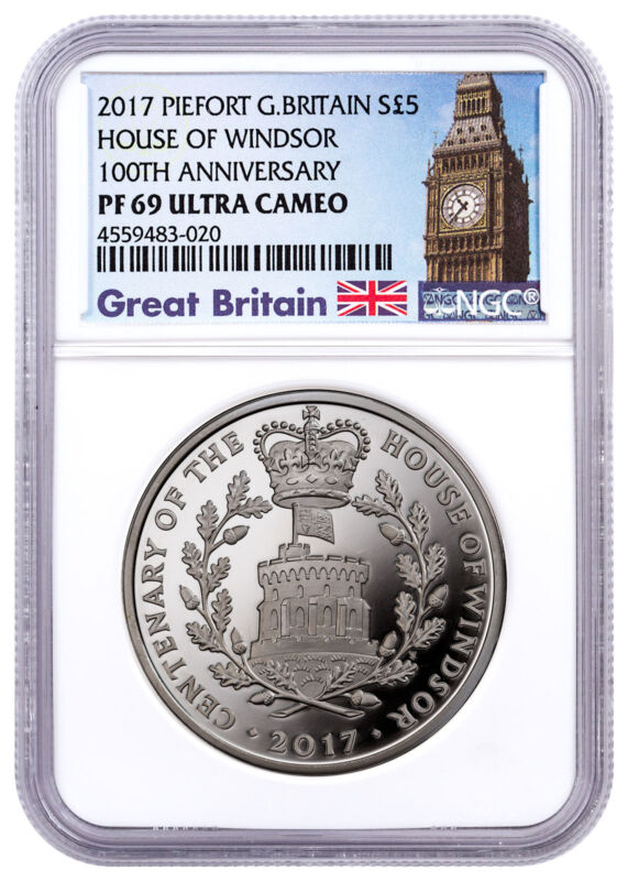 2017 Great Britain House Windsor Centenary Piedfort Silver NGC PF69 Ultra Cameo