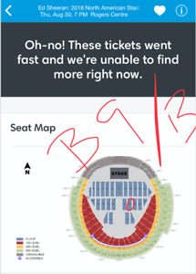 Ed Sheeran Tickets - Aug 30, 2018 Rogers Centre - Floor Seats
