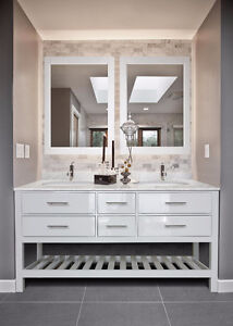 NEW White vanity 60'', white marble counter / Vanité 60''