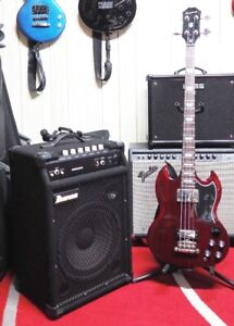 Epiphone Bass and Ibanez Amp
