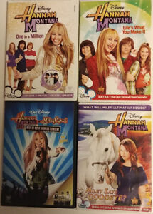 Hanna Montana 4 children's DVD's and 7 books