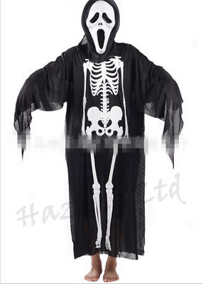 Halloween Ghost Skull Scary Skeleton Costume Fancy Gown Mask Gloves Outfit - Scary Skeleton Halloween Costume