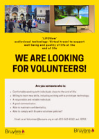 Volunteers needed: Virtual Travel Technology Project at Bruyere