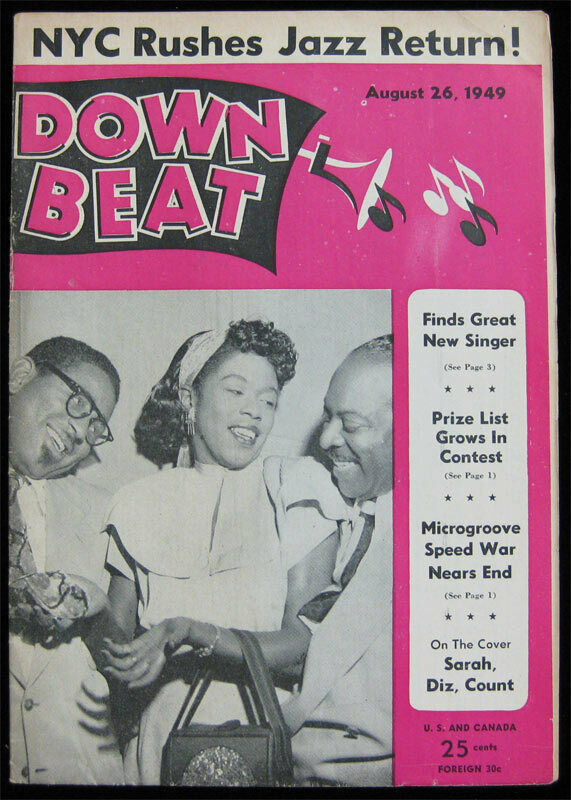 Down Beat Jazz Magazine _ Aug 1949 - Dizzy Gillespie Sarah Vaughan Count Basie