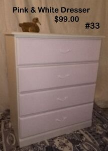 #33 Wood 4 Drawer Dresser - White with Soft Pink Drawer Fronts