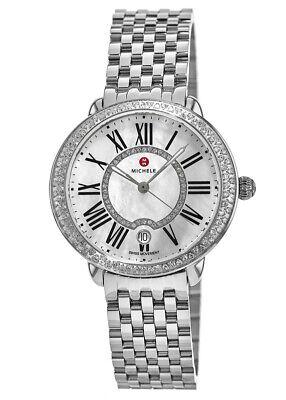 NEW Michele Serein 16 MID Diamond Dial MOP Steel MWW21B000030 Ladies Watch