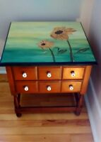 Rustic Looking End Table with spacious draws (Large end table)