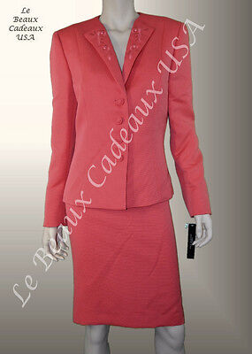 TAHARI Women Skirt Suit Size 8 CORAL Two-Piece Dressy TEXTURED NEW$280 LBCUSA