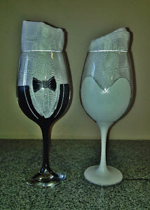Customized Hand Painted Wedding Wine or Champagne Glasses