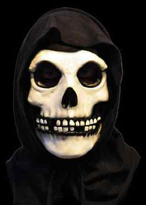 Fiend Mask w/Hood Misfits Skull Skeleton Fancy Dress Halloween Costume - Misfits Halloween Mask