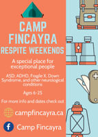 Respite Weekends available at camp for ASD, ADHD, Fragile X etc!