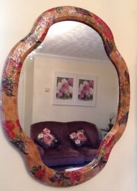 Hand finished wooden floral sparkly wall mirror