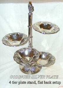 Vintage Godinger silver-plate 4 tier rotating trays on stand