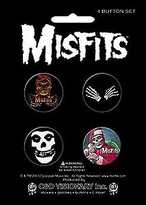 Misfits pack of 4 pin badges (incl. skeleton hands)    (cv)