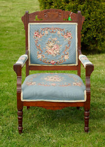 ANTIQUE CARVED WALNUT EASTLAKE PARLOUR ARM CHAIR - NEW PRICE