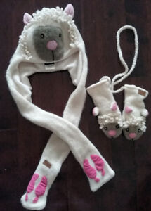 Ark Child Wool Sheep Hat and Mittens - size 2/4