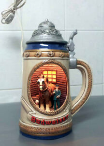 VERY RARE LIGHT UP 3D CLYDESDALE BEER STEIN MUG MINT CONDITION