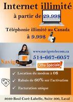 Internet haute vitesse/Télévision à partir de 39.99$