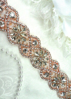 Rose Gold Trim - Iron On Trim Rose Gold Beaded Glass Crystal Rhinestone Bridal Banding 1.5