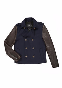 NEW Mackage Yale navy pea coat leather +wool Size 36 AND 38 avai