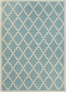 Brand New Blue Turquoise Outdoor Area Rug -3'9x5'5 -$154 Retail