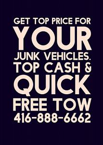GET TOP PRICE FOR YOUR UNWANTED JUNK SCRAP CAR PLUS FREE TOW