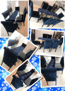 GLASS TOP DINING TABLE WITH SIX VELVET  ROYAL BLUE CHAIRS