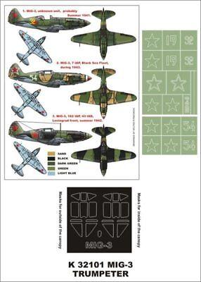 Montex Super Mask 1:32 MiG-3 for Trumpeter Kit #2 Spraying Stencil - Trumpeter Mig 3