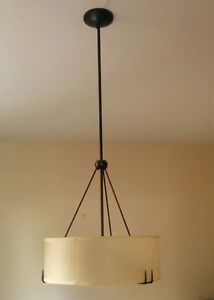 Modern chandelier with frosted glass and black trim finish