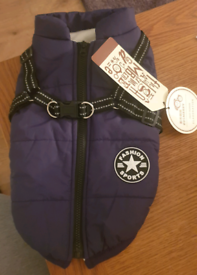 Navy waterproof dog coat