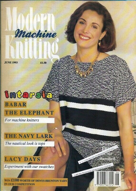 Modern Machine Knitting Jun 1993 Magazine Intarsia BABAR The Elephant Cat - $19.99
