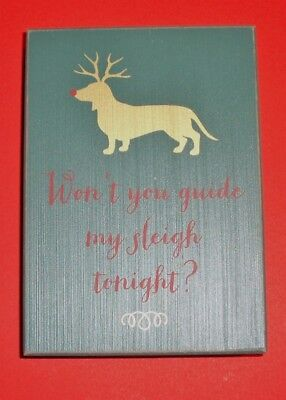 Dachshund Christmas Holiday Block Sign 5x7 - Green Background for sale  Virginia Beach