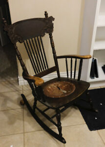 Rocking Chair with Tooled Leather Seat insert